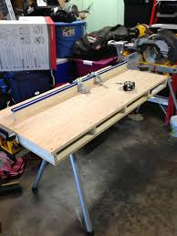 Miter Saw Table Used With Dewalt Table Bracket And Kreg Precision Trak Woodworking Best Woodworking Tools Garage Work Bench