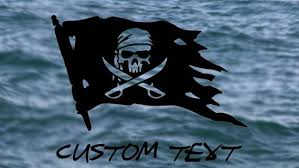 Pirate Ship Flag Vinyl Decal W Text Option Jolly Roger Etsy