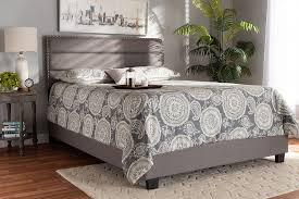 Baxton Studio Ansa Modern & Contemporary Grey Fabric Upholstered Queen Size  Bed - CF9084C-Grey-Queen