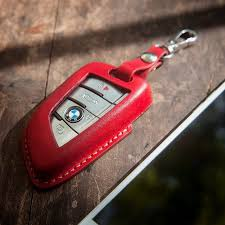 bmw key fob case in red color handmade