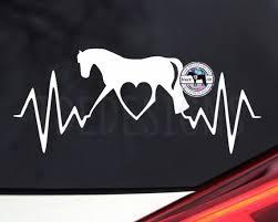 Heartbeat Trotting Horse Love Vinyl Car Decal Equestrian Etsy