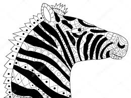 Head Zebra Coloring Vector For Adults Stock Vector