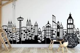 Amazon Com Large City Skyline Silhouette Wall Decal Cityscape Wall Decal Sticker Nursery Wall Decals Kids Room Decor Boy Superhero Theme Gift Ideas Kitchen Dining