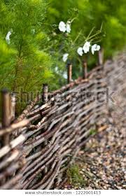 Nice Wooden Fence Twigs Green Garden Nature Stock Image 1222001413