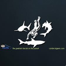 Scuba Diver With Sharks Car Decal Window Sticker Graphic