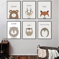 Cartoon Animals Deer Lion Bear Minimalist Art Canvas Painting Modern Kid Room Decor Kid Room Decor Nursery Paintings Nursery Pictures