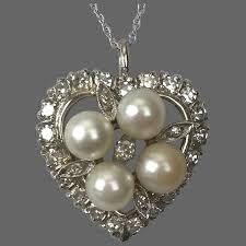 14k wg diamond and akoya pearl pendant
