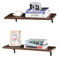Floating Shelves 24 Inch Pine Rustic Wall Mounted 8 Deep For Living Kids Room Kitchen Bathroom With Mounting Brackets Dark Walnut Brown Wood Storage Rack Great Home Decor By Decorluxes