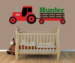Tractor Wall Decal Red Tractor Wall Decal Boys Bedroom Etsy