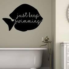 Just Keep Swimming Quote Fish Design Bath Vinyl Wall Decal Bathroom Decor Customvinyldecor Com