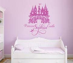 Princess Castle Personalized Name Decal Nursery Girl S Room Decal Damask Castle Wall Sticker Disney C Girls Room Decals Little Girl Rooms Wall Mural Decals