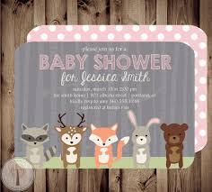 Forest Friends Baby Shower Invitation Baby Shower Invite Girl