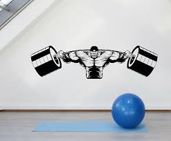 Vinyl Wall Decal Muscular Man Gym Barbell Iron Weight Stickers 1987ig Ebay