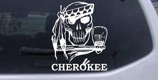 Amazon Com White 10in X 8 2in Cherokee Indian Skull Skulls Car Window Wall Laptop Decal Sticker Automotive