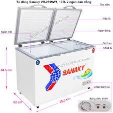 Tủ đông mini Sanaky VH-2599W1, 2 ngăn 195L dàn đồng - T9/2020