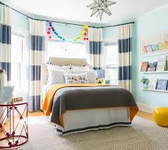Boston Teal Velvet Curtains Kids Traditional With Orange Leather Floor Pillows And Poufs Boys Bedroom
