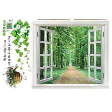 Buy New Design 3d Fake Window Wall Scenery Flower Art Wall Stickers Decal Home Decor Poster 2015 New Free Shipping In Cheap Price On Alibaba Com
