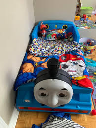 tank engine plastic toddler bed blue
