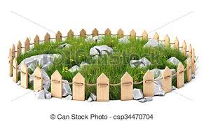 Grassplot Round Island With A Grass Lawn With Rocks Enclosed By A Wooden Fence Isolated On White Background