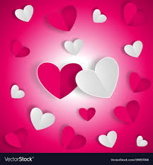 white and red hearts on red vector image