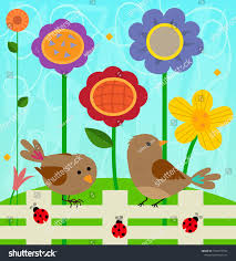 Spring Clipart Two Birds Ladybugs Standing Stock Vector Royalty Free 1033779919