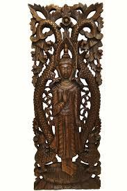 large carved wood panel buddha wall