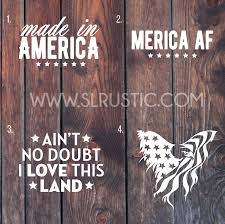 Patriotic Decal America Decal Usa Decal Car Decal Yeti Decal American Slrustic
