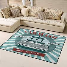 Amazon Com Rugs And Carpets Retro For Kids Room Car Wash Sign Commercial 6 X 9 Rectangle Kitchen Dining