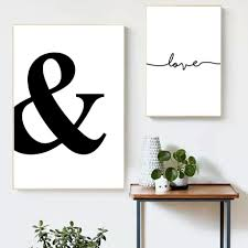 Ampersand Black And White Canvas Print Wall Art Poster