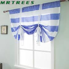 Mrtrees Striped Short Curtains Tulle For Kitchen Bedroom For Living Ro Home Decor
