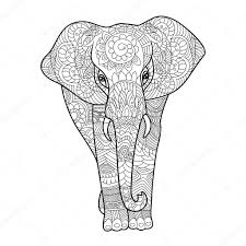 Elephant Coloring Book For Adults Vector Stock Vector