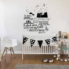 New Design Joshua 1 9 Mountains Adventure Wall Stickers Quote Be Brave Wall Decals Boys Nursery Decor Star Wallpapers Lc769 Wall Stickers Aliexpress