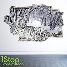 1stop Graphics Shop White Tiger Wall Sticker 3d Look Bedroom Lounge Nature Animal Wall Decal Z26 Size Large Amazon Co Uk Kitchen Animal Wall Decals Wall Stickers 3d Wall Stickers