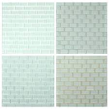 white glass tile with gray grout