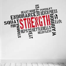 Pro Design Strength Wall Fitness Decal Word Cloud Quote 5 Colour Choices Word Cloud Cloud Quotes Gym Interior