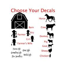Car Family Decals Family Car Stickers Farm Family Decals Etsy