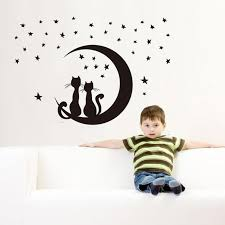 Crescent Moon Star Cats Removable Vinyl Wall Decal Stickers Thepurrshop