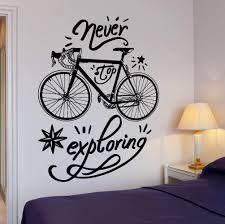 Wall Vinyl Decal Bike Bicycle Quote Words Never Stop Exploring Home Decor Unique Gift Z4304 In 2020 Vinyl Wall Decals Vinyl Decals Cheap Wall Stickers