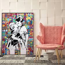 Street Wall Art Banksy Graffiti Canvas Paintings Abstract Pop Art Canvas Prints For Kids Room Home Cuadros Decoration No Frame Painting Calligraphy Aliexpress