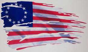Tattered Ripped 1776 American Flag Full Color Graphic Window Decal Stick