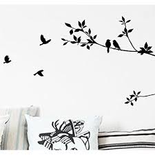 Bibitime Black Tree Branch Wall Decal With Birds Art Stickers Living Room Tv Background Vinyl Mural