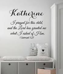 I Prayed For This Child Wall Decal Quote Girl Name Decal Nursery Decor Art Ki158 Ebay
