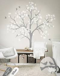 Tree Decal With Bird And Leaves White Tree Wall Decals Nursery Etsy Nursery Wall Decals Tree Wall Decor Living Room Wall Stickers Living Room