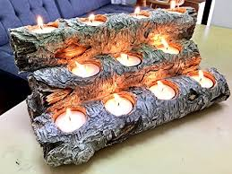 tealight fireplace log candle holder