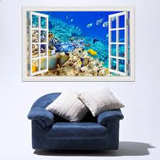 3d New Wall Sticker Removable Underwater World Fish Decals Window View Wallpapers For Living Room Art Decal Home Decor Wallpapers For 3d Windowwall Decals 3d Aliexpress