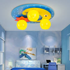 3 Lights Moon And Star Flushmount Children Bedroom Ceiling Lamp With Yellow Glass Shade Beautifulhalo Com