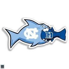 North Carolina Tar Heels Fish Eating Duke Vinyl Decal Shrunken Head