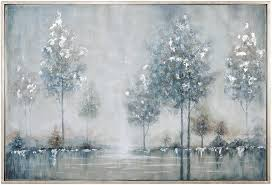 Amazon Com My Swanky Home Contemporary Silver Blue Trees Water Wall Art Modern Lake Painting Paintings