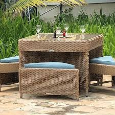 rattan 4 seater cube table tuck under