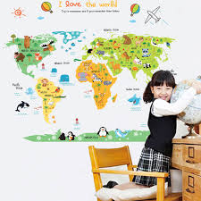 Large World Map Contour Removable Kids Room Decal Nursery Decor Wall Stickers For Sale Online